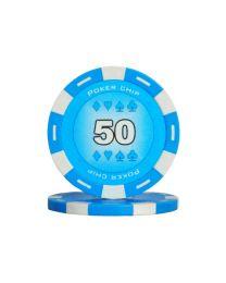 Blue color poker chips 50