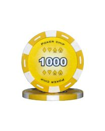 Yellow color poker chips 1000