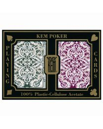 KEM Playing Cards Jacquard Burgundy and Green