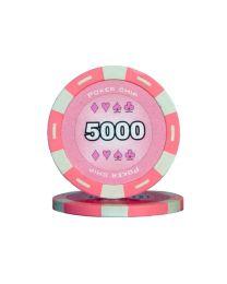 Pink color poker chips 5000