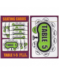 Seating Cards: Table 1-5 for Poker Tournaments